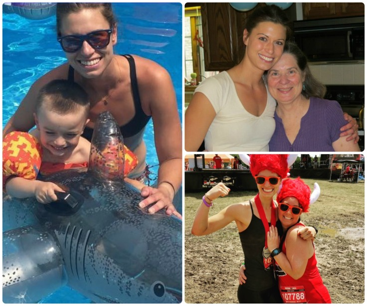 Clockwise: 1) Meg and her son, Ethan, swimming with dolphins 2) Meg and one of her personal heroes...her mom 3) Meg in Warrior Dash beast mode !